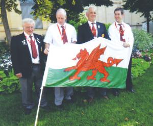 Welsh Ploughing Team in Bordeaux: L to R - John Nixon World Board Member, Aled Morgan Coach & Judge, Rhodri George Competitor, Elfed Jones Competitor