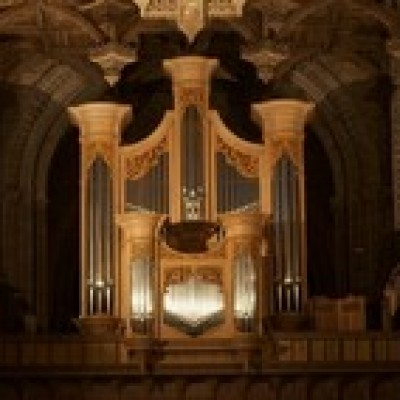 The organ in St David's Catheddral ready for St David's Cathedral Festival