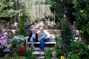 ladies on bench at usk open gardens