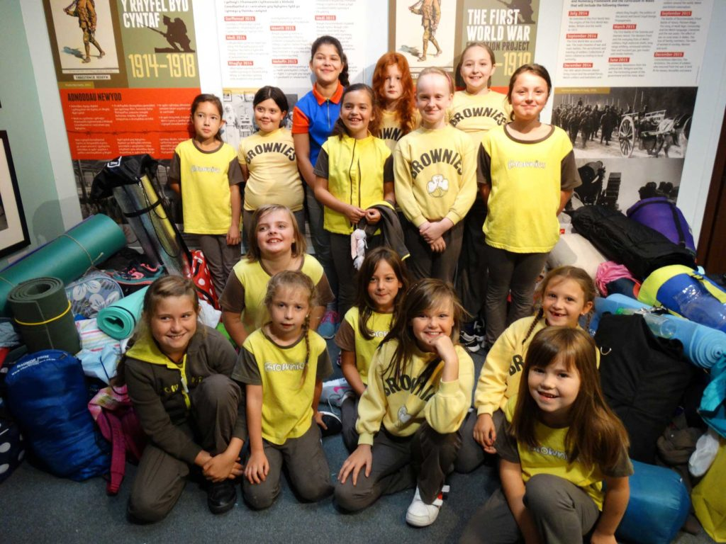 Brownies have sleepover at The National Library of Wales